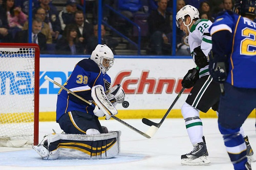 New goaltender for the Blues #39 Ryan Miller makes a stellar save against the Dallas Stars, leading to overtime.  The Stars beat the Blues 3-2. (Photo by Dilip Vishwanat/Getty Images)