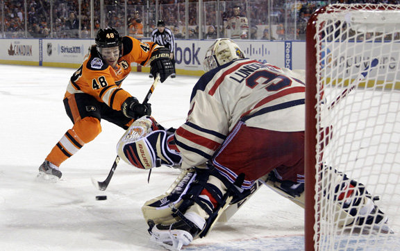 6) Winter Classic. Henrik Lundqvist stops Danny Briere on a late penalty  shot to seal the Rangers 3- d20705abe