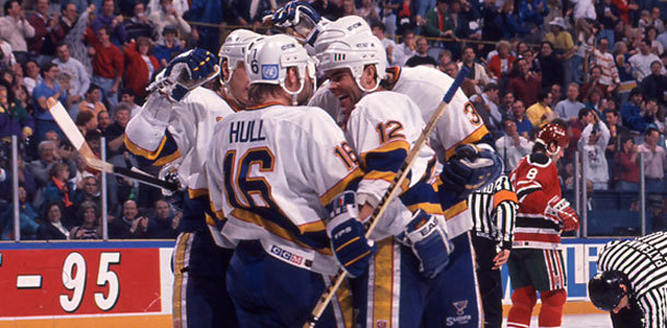 The Hull and Oates combo was a lethal one in St. Louis for the three years they were together. The duo made for some fantastic playoff series from 1989 to 1982. (Photo from NHL.com)
