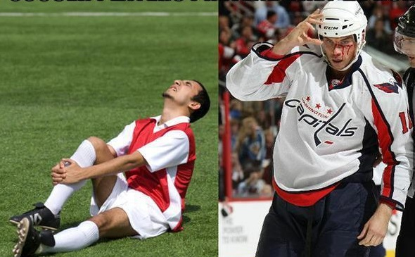 "Photo of Soccer ""Injuries"" vs. Hockey Injuries"
