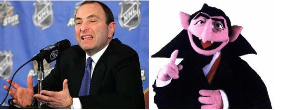 NHL Commissioner Gary Bettman (Left) and Sesame Street's Count (Right)