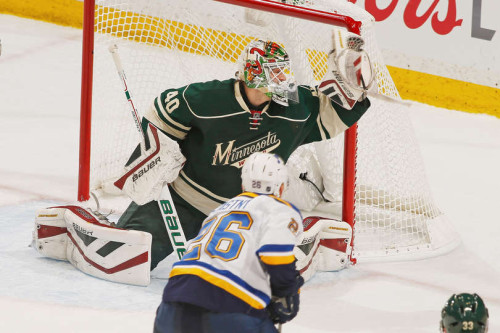 The St. Louis Blues need to figure out Wild Goalie Devan Dubnyk soon. (Bruce Kluckhohn – Getty Images)