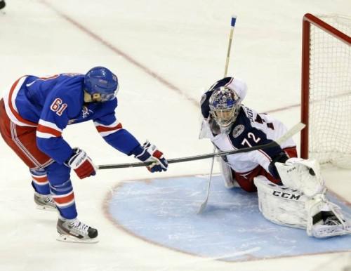 Sergei Bobrovsky robs Blue Jackets legend Rick Nash in a shootout attempt.  (Associated Press 4d3f9b6c6