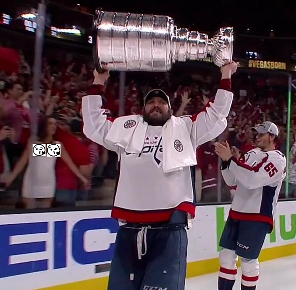 Photo of One Cup up and 2 cups out for the Washington Capitals Championship!