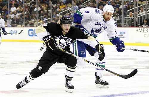 Olli Maatta scores his first goal against the Vancouver Canucks