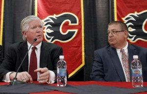 Brian Burke and Jay Feaster at the press conference announcing Burke's hiring as Director of Hockey Operations on Thursday, Sept. 5, 2013.  (Photo Credit: Jeff McIntosh/THE CANADIAN PRESS)