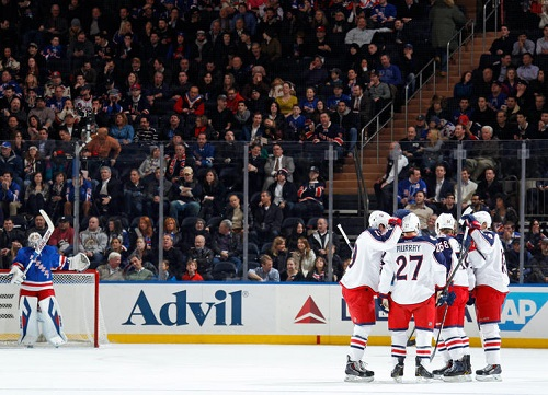 The Columbus Blue Jackets were one of many hockey teams that had reason to celebrate at Madison Square Garden in the month of December. (Photo by Scott Levy – NHLi via Getty Images)