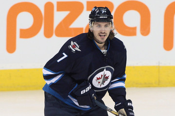Keaton Ellerby of the Winnipeg Jets on the ice at the MTS Centre in Winnipeg during a game against the Los Angeles Kings on March 6, 2014. (Getty Images)