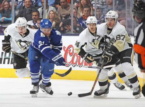 Phil Kessel and Sidney Crosby will likely be linemates in 2015-16. (Photo by Claus Andersen/Getty Images)