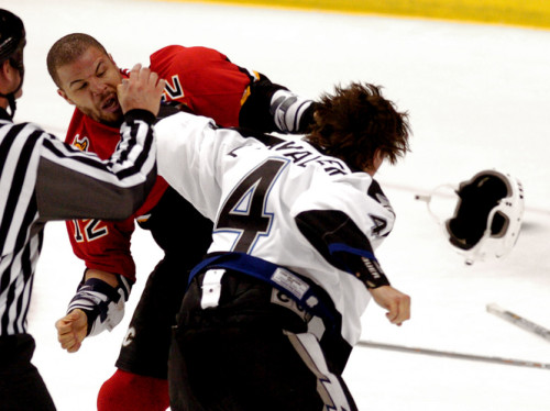 One of Iginla's most iconic moments as a Flames was when he dropped the gloves with Vincent Lecavalier in Game 3 of the 2004 Stanley Cup Final. (Dirk Shadd / Times)